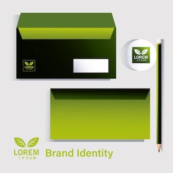 企業イラストデザインのブランドアイデンティティの鉛筆と封筒の要素
