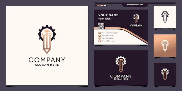 ユニークでモダンなコンセプトと名刺デザインプレミアムベクトルと鉛筆とメカニックツールのロゴ