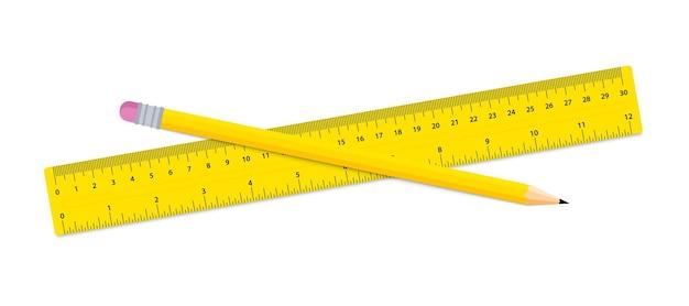 Карандаш и линейка. канцелярские товары - линейка и деревянный карандаш на белом фоне