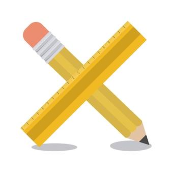 Значок инструмента карандаша и линейки