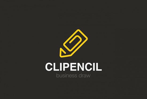 クリップロゴとしての鉛筆。線形スタイル