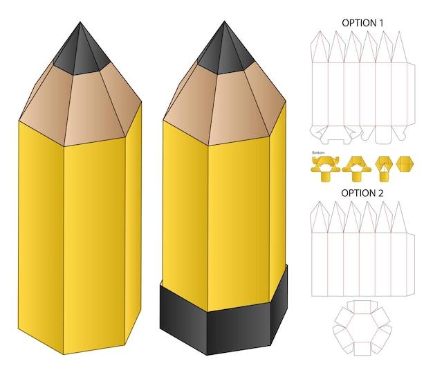 연필 상자 포장 다이 컷 템플릿 디자인