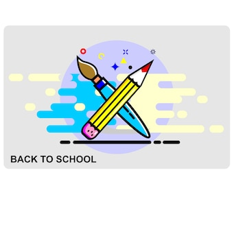 Pencil and brush icon vector
