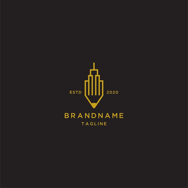 Шаблон логотипа искусства линии карандаша