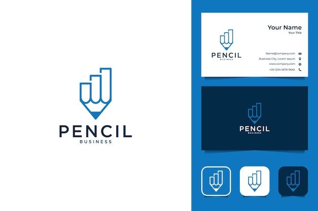 鉛筆のビジネスロゴのデザインと名刺