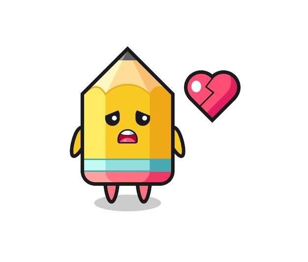 Pencil cartoon illustration is broken heart , cute style design for t shirt, sticker, logo element