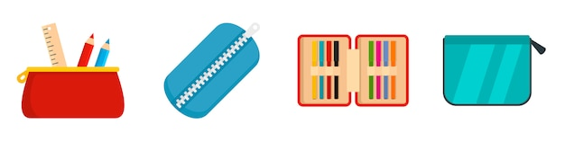 Pencil case icon set