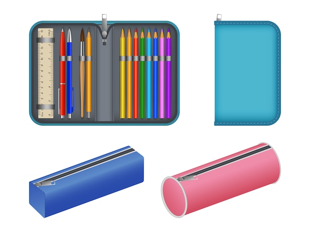 Pencil case icons set, realistic style