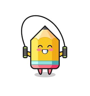 밧줄을 건너뛰는 연필 캐릭터 만화, 티셔츠, 스티커, 로고 요소를 위한 귀여운 스타일 디자인