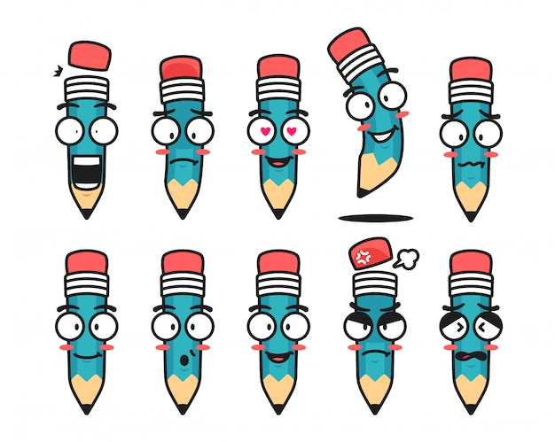 Pencil character mascot illustration with face expression emoticon emoji set