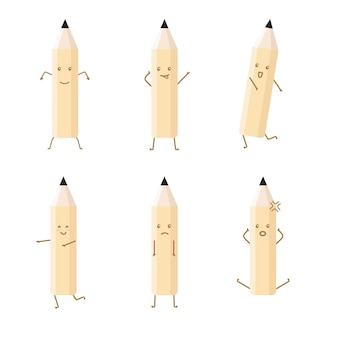 Pencil character with attractive style set