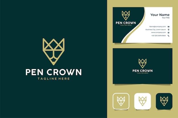鉛筆の王冠のロゴのデザインと名刺