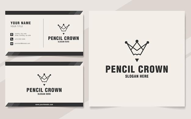 Pencil crown logo template on monogram style