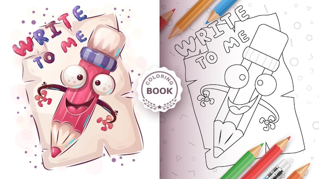 Pencil draw letter - coloring page