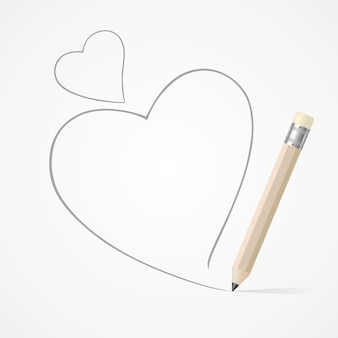Pencil drawing heart line