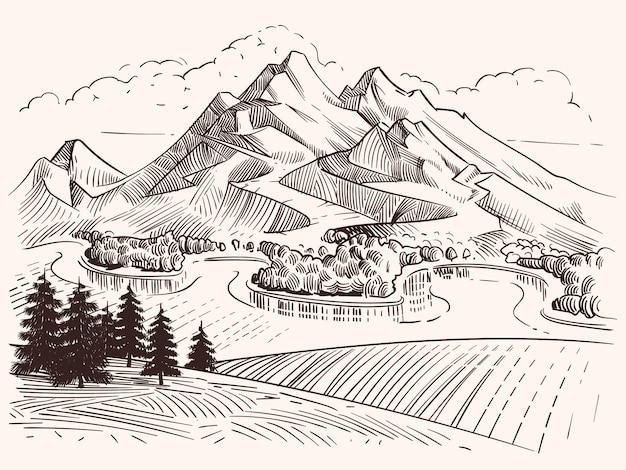 鉛筆画山の風景。漫画スケッチ山とモミの木はベクトルイラストです。風景スケッチ山、木とピークの丘 Premiumベクター
