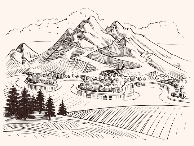 Pencil drawing mountain landscape. cartoon sketch mountains and fir trees vector illustration. landscape sketch mountain, tree and peak hill