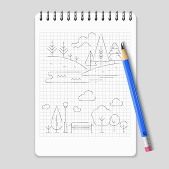 Pencil drawing nature landscape outline vector