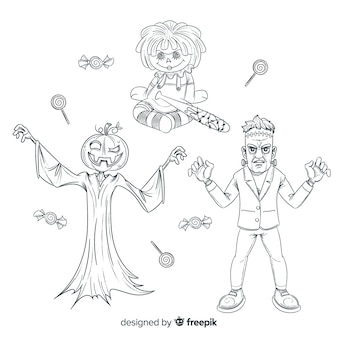 Pencil drawings of halloween character collection