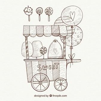 Pencil drawn cotton candy cart