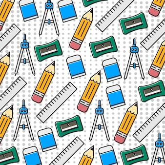 Pencil, eraser, compass, ruller, sharpener