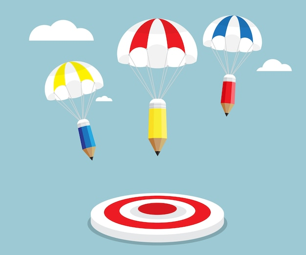 Карандаш, летающий с парашютом, чтобы целевой векторной иллюстрации