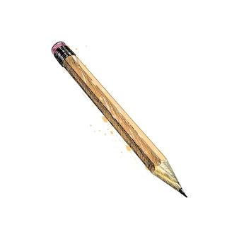 Карандаш из всплеск акварели, рисованный эскиз. иллюстрация красок