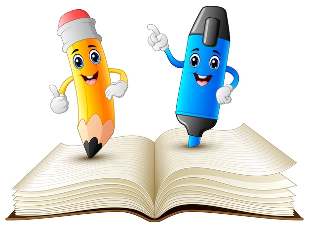 Pencil and highlighter cartoon standing on book