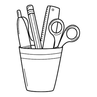 눈금자, 가위, 펜, 연필이 있는 연필 홀더. 낙서 스타일. 손으로 그린 검은 흰색 그림