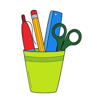 Pencil holder with a ruler, scissors, pen, pencil. doodle. hand-drawn colorful vector illustration.