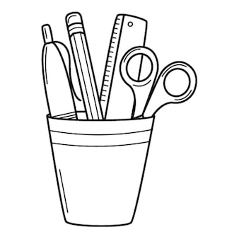 Pencil holder with a ruler, scissors, pen, pencil. doodle style. hand-drawn black white illustration