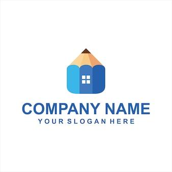 Pencil home logo vector