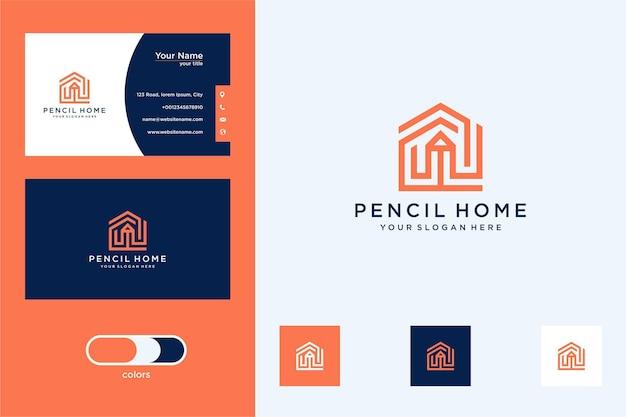鉛筆の家のモダンなロゴデザインと名刺