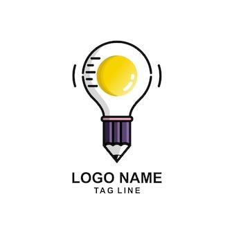 鉛筆のアイデアの卵のロゴ