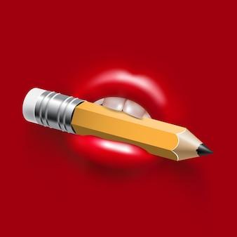 女性のセクシーな口の鉛筆
