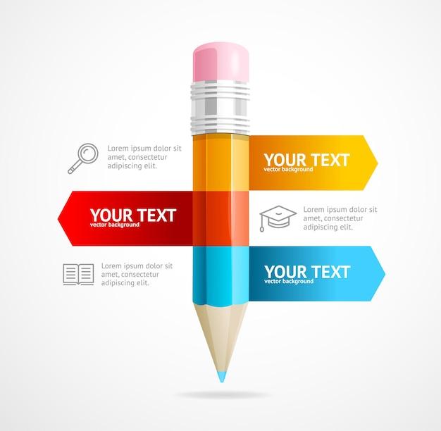 鉛筆インフォグラフィックビジネス教育の概念。