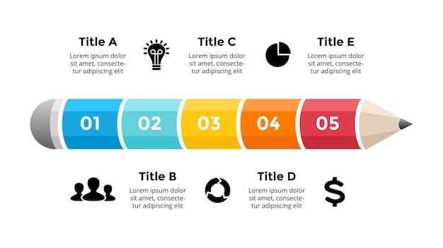 연필 infographic 교육 개념 5 옵션 다이어그램