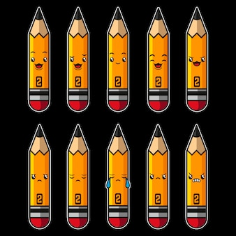 鉛筆かわいい漫画のキャラクター