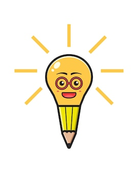 Pencil lamp have idea cartoon icon vector illustration. design isolated flat cartoon style