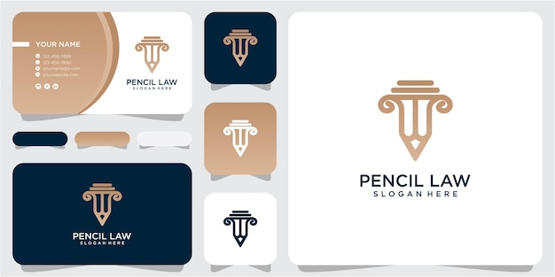 Вдохновение дизайна логотипа закона карандаша. карандаш правосудия дизайн логотипа. закон дизайн логотипа