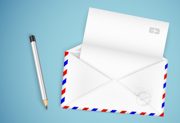 Pencil and letter with envelope  illustration