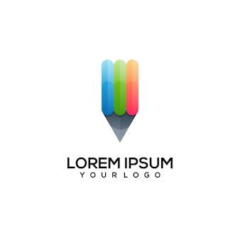 Карандаш логотип красочные иллюстрации