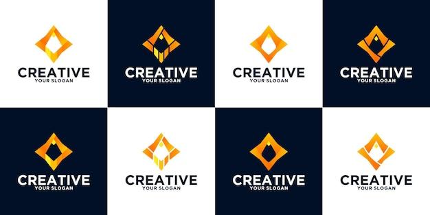 ビジネス、アプリケーション、教育などのための鉛筆ロゴリファレンスコレクション