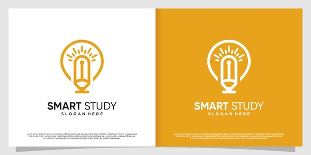 Pencil logo with bulb idea concept premium vector