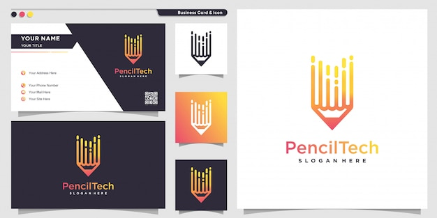 Pencil logo with line art technology style and business card design template, pencil, technology, gradient, logo template