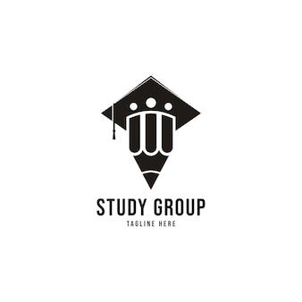 연필 로고 연구 그룹 로고 교육 로고 학생