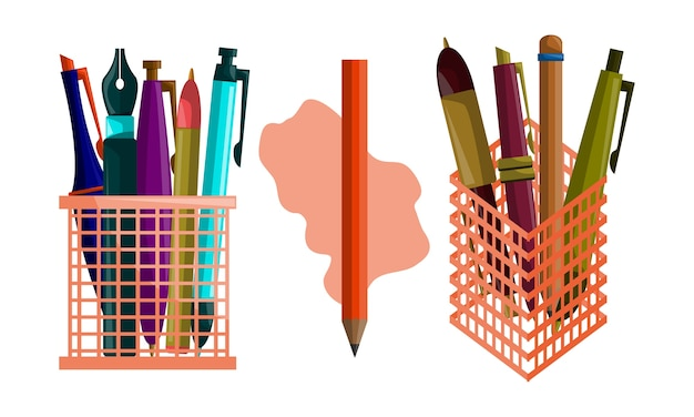 Pencil pen design template vector set