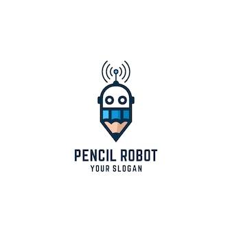 Pencil robot logo