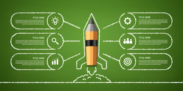 Pencil rocket launching out from the book workflow infographic