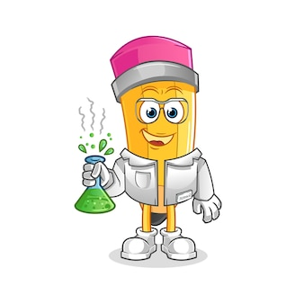 연필 과학자 캐릭터. 만화 마스코트